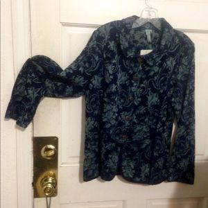 Indigo cotton brocade jacket piped in navy. NEW!